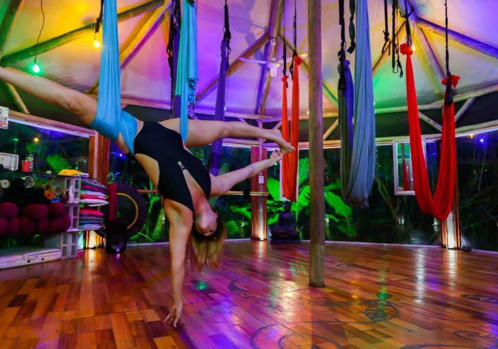 straddle splits aerial yoga image photo how to tutorial