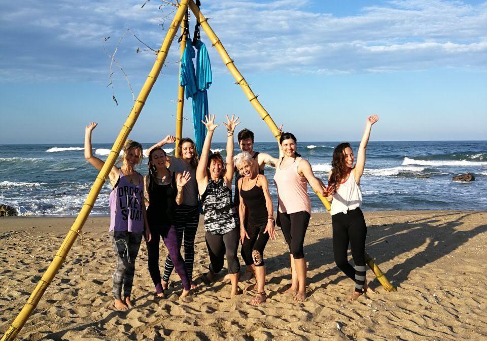 beach fun aerial yoga bamboo be free hohm yoga love your life transform yoga umzumbe beach girls