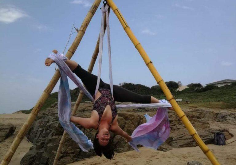 beach aerial bamboo yoga poles class workshop flow silks hammock yoga hammock